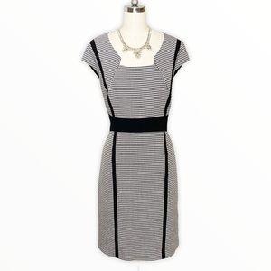 Tahari ASL Black & White Houndstooth Sheath Dress